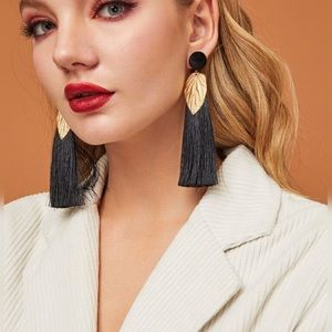 TASSEL AND LEAF DROP EARRINGS